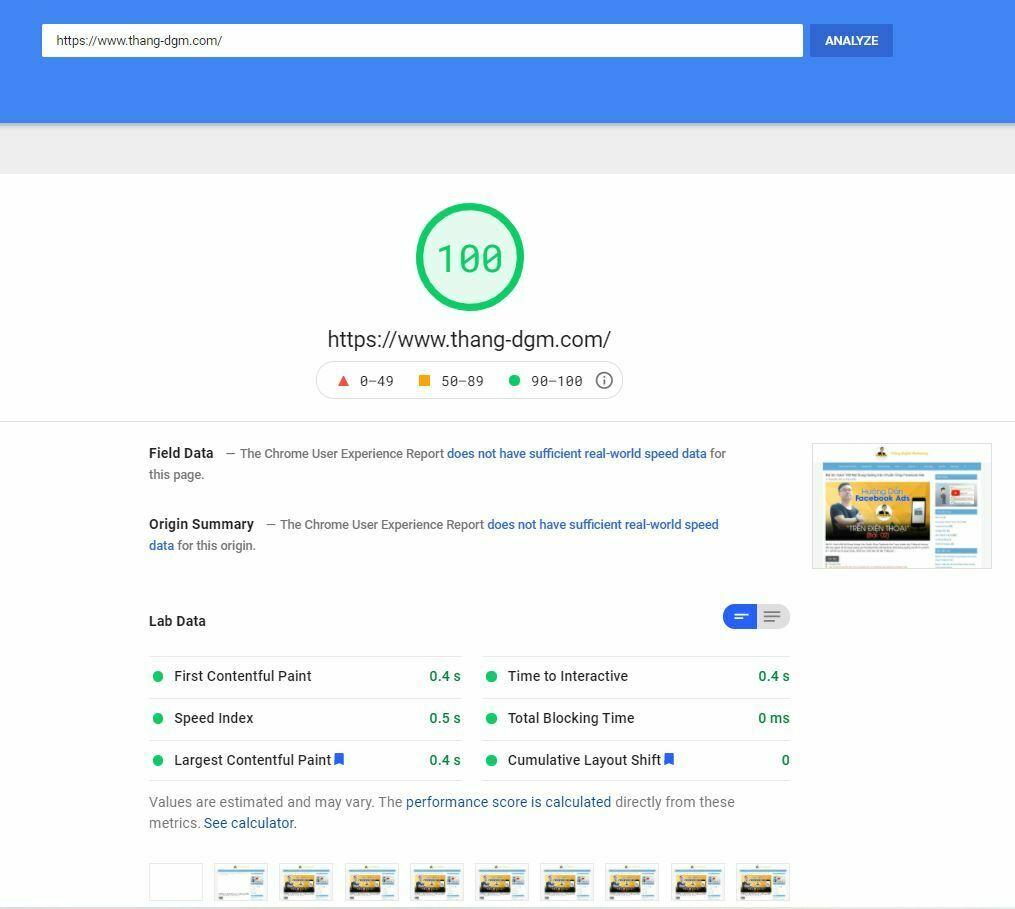 Website được tối ưu tốc độ load thực cũng như điểm chất lượng Google đánh giá theo thuật toán mới đạt điểm tuyệt đối